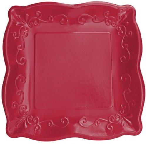 "Elise Scalloped Embossed 7"" Square Premium Paper Plates, 8-Count, Garnet"