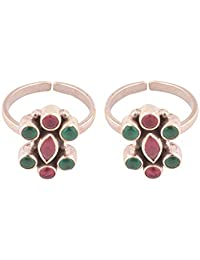 Silverwala 925 Sterling Silver Ruby & Emerald Toe Rings