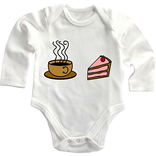 Cup Of Coffee Strawberry Cake Cotton Infant Long Sleeve Baby Bodysuit Creeper White 18 Months front-867731