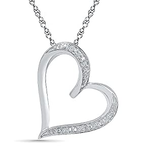 Beautiful Heart Pendant IN Sterling Silver with Diamonds (0.04 CTTW), 18