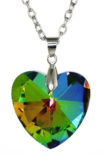 Multifaceted Triangle -Cut Rainbow Austrian Crystal Heart Pendent Necklace