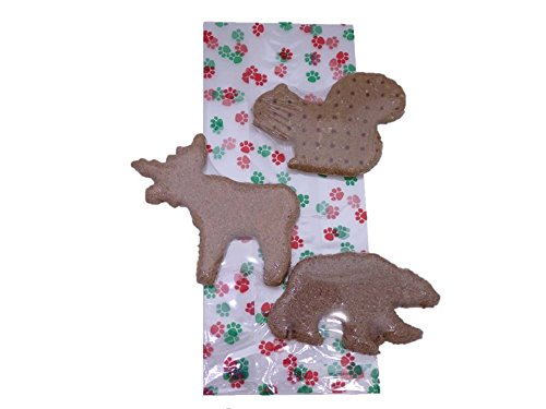 Christmas Holiday Dog Gift Treat Bag - Made in USA - Paw Print Cello Bag