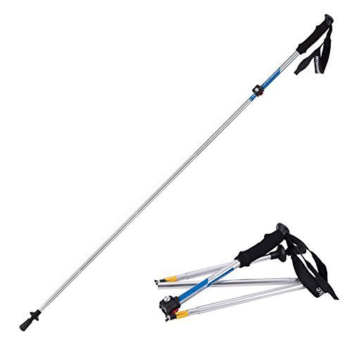 Weanas® 1pc Folding Collapsible Alpenstocks Ultralight Travel Hiking Climbing Backpacking Walking Trekking Pole Climbing Stick with EVA Foam Handle (Silver&Blue)