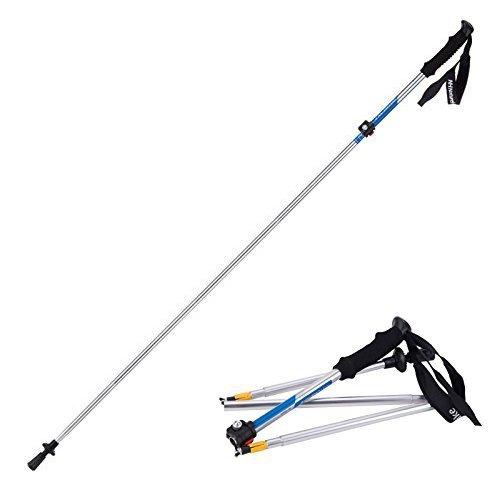 Weanas® 1pc Folding Collapsible Alpenstocks Ultralight Travel Hiking Climbing Backpacking Walking Trekking Pole Climbing Stick with EVA Foam Handle (Silver&Blue)