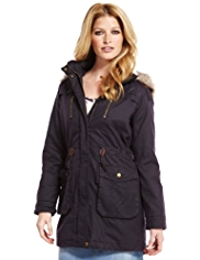 Indigo Collection 4 Pockets Faux Fur Trim Waxed Parka