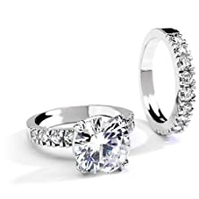 buy Grade Aaaaa 5 Carat Round Cut Cz Double Engagement Ring Set. Rhodium Plating. Size 10
