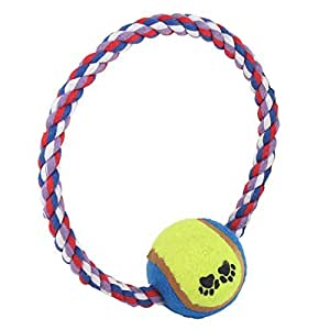 Colors Knot Rope Blue Yellow Green Ball Pet Puppy Tug Toy
