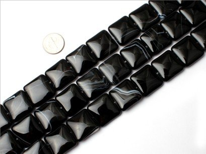 20mm square banded black agate beads strand 15