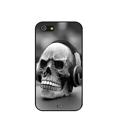 Dh-Hoping (Tm) Cell Phone Case For Personalizatied Custom Picture Iphone 5C Inch High Impackt Combo Soft Silicon Rubber Hybrid Hard Pc & Metal Aluminum Protective Case With Customizatied Skull Black Art Retro Style Luxurious Pattern (Skull-10)