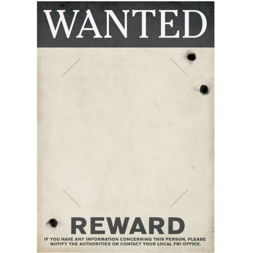 Gangster Wanted Sign (slotted to hold 8 x 10 photo) Party Accessory  (1 count) - 1