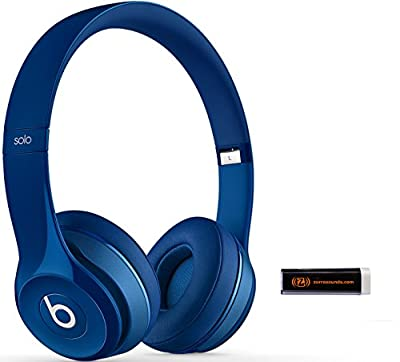 Beats by Dr. Dre Solo 2.0 Blue On-Ear Headphones Travel Bundle with Portable Charger