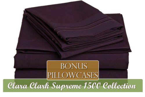 Clara Clark ® Supreme 1500 Collection 6 Piece Bed Sheet Set, Includes Extra Pillowcases, Cal King Size, Purple Eggplant front-675571