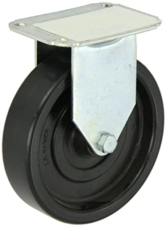 "E.R. Wagner Plate Caster, Rigid, Polyolefin Wheel, Plain Bearing, 280 lbs Capacity, 5"" Wheel Dia, 1-1/4"" Wheel Width, 5-5/8"" Mount Height"