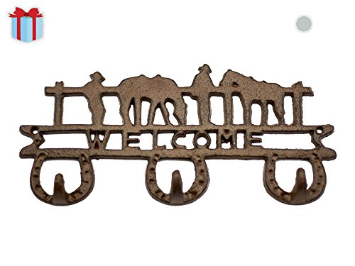 Cowboy Vintage 3-Hook Key Holder by Comfify | Antique Wall Mount Cast Iron Key Rack, Beautiful Detail | Includes Screws and Anchors | in Antique White (Vintage Cowboy Decor compare prices)
