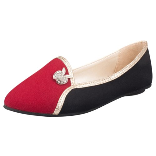 Vonfon Women Work Space Red Cloth Low Top Pointed Toe Flat Heel Single Shoes 6Us