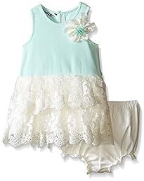Pippa & Julie Baby Mint Lace Tank Dress, Green, 12 Months