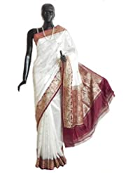 Banarasi White Koriyal Katan Silk Saree with All-Over Zari Boota, Maroon Border and Gorgeous Pallu - Silk