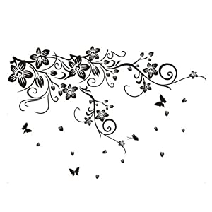 Pvc vine flower butterflies removable room art mural wall - Stickers muraux pour salon ...