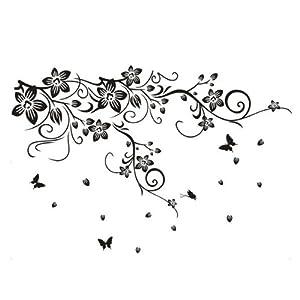 Pvc vine flower butterflies removable room art mural wall sticker decal amaz - Stickers muraux salon ...