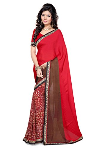 Sourbh Sarees Women's Red And Coffee Satin Chiffon Printed Saree With Unstitched Blouse Piece