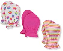 Gerber Baby-Girls  Cupcakes 3 Pack Mitten, Pink/White, 0-3 Months