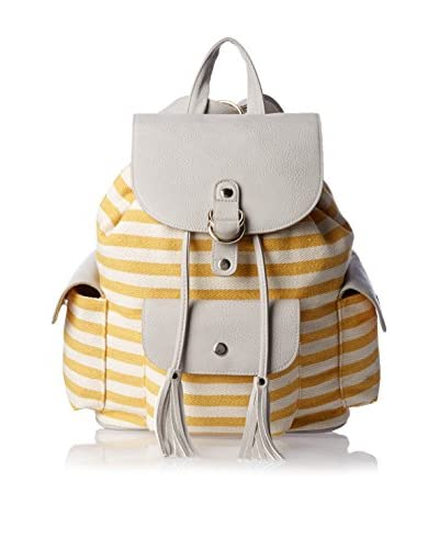 POVERTY FLATS by rian Women's Stripey Backpack, Yellow/Grey