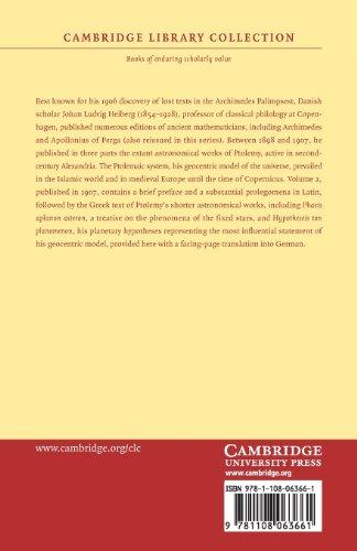 Claudii Ptolemaei opera quae exstant omnia: Volume 2 (Cambridge Library Collection - Classics)
