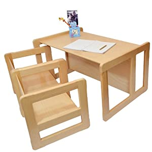 3 in 1 Childrens Furniture Set of 3 Two Chair Tables Small and One Bench Table Large Light Beech Wood       Customer reviews and more information