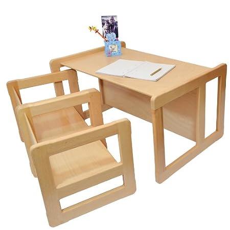 3 en 1 Muebles Para Niños de Madera de La Haya Ligera, Conjunto de Tres Piezas, Dos Mesas Pequeñas Que Se Convierten en Sillas Y Un Banco Grande Que Se Convierte En Mesa