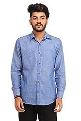 Snoby blue plain Khadi shirt SBY8074