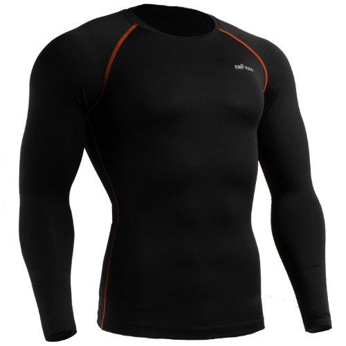 emFraa Skin Tight Compression Base layer Black Running Shirt men women S ~ 2XL