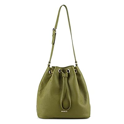 Banuce Women's Leather Large Drawstring Bucket Shoulder Bag