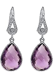 10.00 Ct Created Pink Sapphire Pear Shape Solid Sterling Silver Dangle Earrings