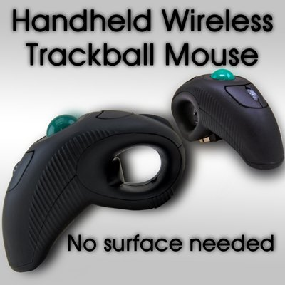 Wireless Handheld Trackball Mouse for Computer Laptop Rechargeable Travel w/ Laser Pointer Presenter 5 Button