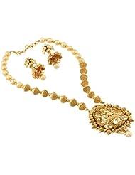 SatyamJewellery Nx Traditional Laxmi Pendant Pearl Temple Necklace FancyJewellery