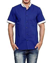 Dazzio Men's Slim Fit Cotton Casual Shirt (DZSH0915_Blue_38)