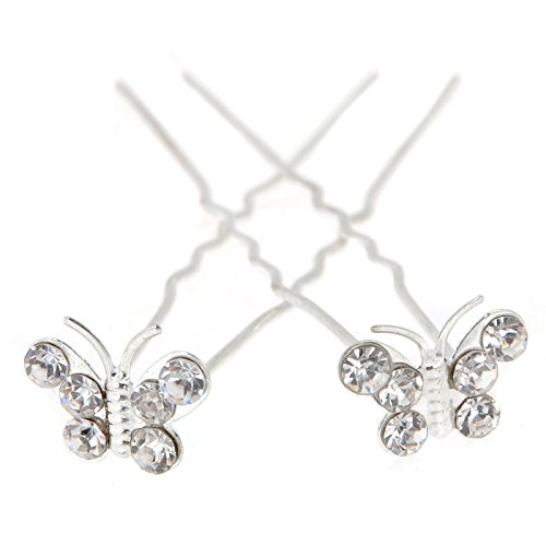 Yantu Womens Flower Bridal Wedding Hair Pin with Crystal (Pack of 20) (butterfly)