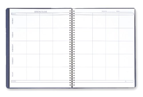 House of Doolittle Lesson Planner 8  x 11 Inch with 8 Periods, 40+ Weeks, and a Blue Embossed Leatherette Cover Recycled  (HOD51007)