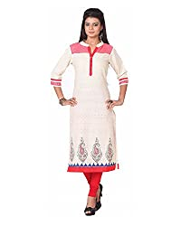 Namah Women's Cotton Regular Fit Kurti (D61-XXL , Peach, XXL)