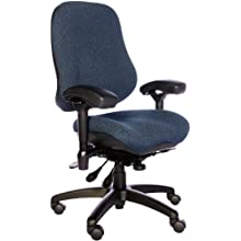 "BodyBilt J2507x Blue Fabric High Back Task Ergonomic Chair with Arms, 22"" Length x 21.50"" Width Backrest, 21"" Width Seat, Grade 3 Comfortek"