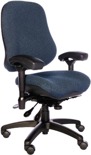 "Bodybilt J2507X Blue Fabric High Back Thoracic Support Task Ergonomic Chair With Arms, 22"" Length X 21.50"" Width Backrest, 21"" Width Seat, Grade 3 Comfortek front-9340"