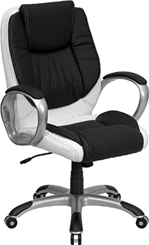 Flash Furniture CH-CX0217M-GG Mid-Back Black and White Leather Executive