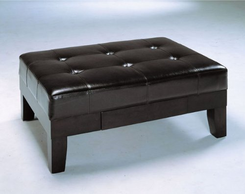 Bycast Leather Like Coffee Table with Drawer and Espresso Finish ADS50403