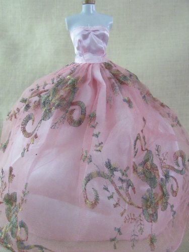 "Elegant Barbie Doll Dress: Pale Pink Dress Fit 11.5"" Barbie Dolls"