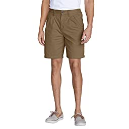 Eddie Bauer Men\'s Legend Wash Side-Elastic Chino Shorts, Saddle 38 Regular