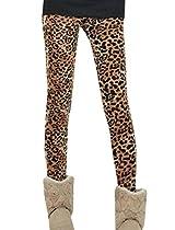 Allegra K Women Elastic Waist Fleece Lined Leggings Leopard Print Tights