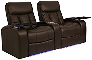 Seatcraft verona collection home theater seating with power recline row of 2 brown Home theater furniture amazon