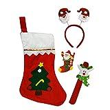 Santa Claus Christmas Stocking Tree Print Gift Bag With Santa Hair Band, Wrist Band, LED Santa