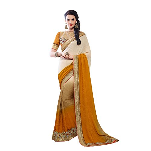 Mustard Ethniccrush Mustard & Cream Color Jacquard Embroidered Designer Indian Saree. (Multicolor)