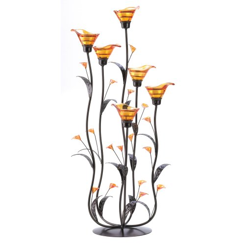 Gifts & Decor Amber Calla Lily Flower Bunch Tealight Candle Holder